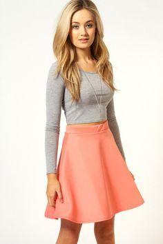 Carven Coral Seersucker High-Waisted Skirt | ❤Love❤ | Pinterest ...