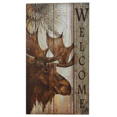 Moose Welcome Sign - A Black Forest Decor Exclusive - A friendly forest resident greets your guests in the wooden Moose Welcome Sign with a vintage look. This regal moose with pine branches makes your home or cabin an inviting place. Measures x x 27 ~ Rustic Wood Signs, Wooden Signs, Rustic Decor, Tole Painting, Painting On Wood, Moose Decor, Black Forest Decor, Pallet Art, Reno