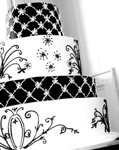 I really like the black/white alternating tiers      Fall Wedding Cake The Knot Cake: by Carolina Cakes & Confections, via Flickr