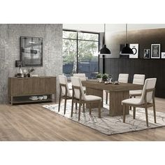 Shop Torrington Grey Tweed and Wheat Brown 7-piece Rectangular Dining Set - On Sale - Overstock - 31683534 Coaster Furniture, Bar Furniture, Furniture Deals, Dining Table With Storage, Dining Room Bar, Dining Rooms, Wooden Dining Chairs, 7 Piece Dining Set, Upholstered Chairs