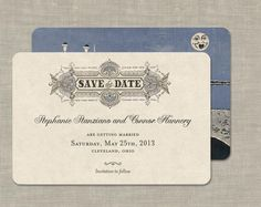 Save the Date Wedding Invitations Vintage Theme Set of by GoGoSnap, $90.00