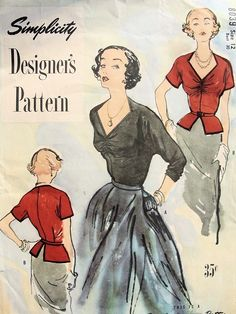 Interesting neckline, bust gathers and peplum on this 1949 Simplicity blouse - pattern #8039