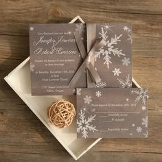 elegant grey winter wedding invites