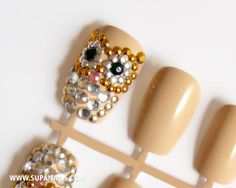 Glam Owls - 12 glamorous nude/beige owl nails with gold,silver and black rhinestones. €28,00, via Etsy.