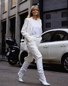 Trust us: The Balenciaga B Bag is destined to cult status. As seen carried by Jeanette Madsen and more style influencers. White Leather Pants, White Jeans, White High Boots, Fashion Boots, Fashion Outfits, Womens Fashion, Top To Toe, Quilted Leather, Balenciaga