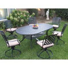 Outdoor Cast Aluminum Patio Furniture 7 Piece Dining Set - Excellent product at a great price.If you are looking for outdoor patio dining sets re Cast Aluminum Patio Furniture, Iron Patio Furniture, Patio Furniture Cushions, Garden Furniture, Outdoor Furniture Sets, Dining Furniture, Rustic Furniture, Outdoor Dining Set, Patio Dining