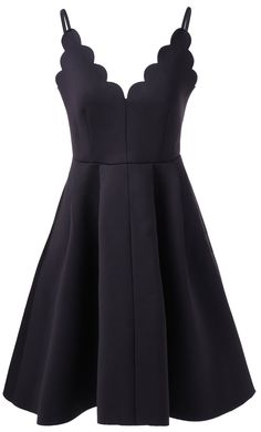 gorgeous little black dress with scalloped neckline