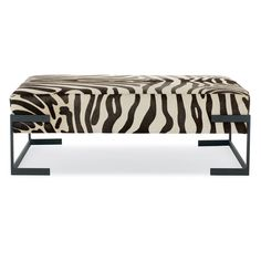 Bernhardt Interiors. Bromley Upholstered Cocktail Table. White hair-on-hide leather with zebra pattern