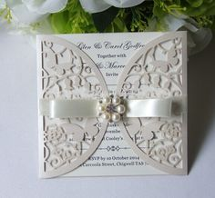 50-Personalized Pérola Shimmer Borboleta Cartão Do Convite Do Casamento com Fita do marfim + folha Interna + Envelope impressão personalizada Livre(China (Mainland))