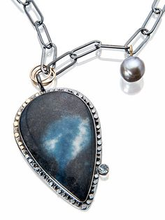 Sydney Lynch- Oculus Necklace, Sterling with patina, azurite, aquamarine pearl, 18k