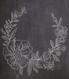 Items similar to Hand Drawn Chalkboard Flower Wreath- line drawing flowers plants botanical rustic romantic on Etsy Chalkboard Drawings, Chalkboard Lettering, Chalkboard Designs, Chalk Drawings, Art Drawings, Wall Drawing, Line Drawing, Drawing Ideas, Wreath Drawing