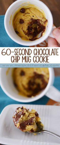 Chocolate Chip Mug Cookie This chocolate chip mug cookie is the perfect solution for a cookie craving that needs satisfied now!This chocolate chip mug cookie is the perfect solution for a cookie craving that needs satisfied now! Easy Desserts, Delicious Desserts, Dessert Recipes, Yummy Food, Tasty, Delicious Chocolate, Cake Recipes, Chocolate Chocolate, Desserts In A Mug
