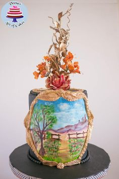 Black Hand Painted Landscape - Cake by Veenas Art of Cakes