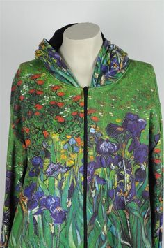#Breeke Hooded Sweater Long Sleeve Zip Up Silk Screen #VANGOGH IRISES Size XL #Breeke #Hooded