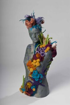 Coral Reef by Wendy O'Brien felting and beading on cast figure