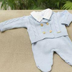 Saída de Maternidade Conjunto Polo Azul Claro