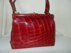Beautiful 1940's signed red crocodile skin handbag purse by VintageHandbagDreams on Etsy