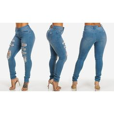 Women's ModaXpressOnline.com Five-Pocket Distressed Skinny JeansStyle... ($25) ❤ liked on Polyvore featuring jeans, blue, skinny fit jeans, blue jeans, torn skinny jeans, blue ripped jeans and super distressed skinny jeans