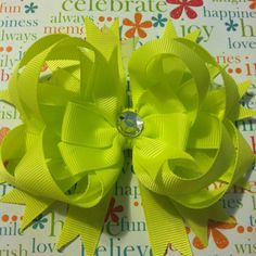 electric yellow stacked bow $7.00