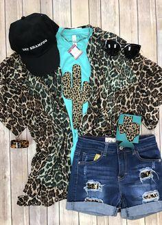 c5f4e7fe1e90b6 Leopard cactus tee by Sweet Texas Treasures Rodeo Clothes
