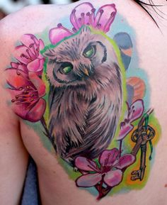 Colorful Owl Tattoo like this watercolor style