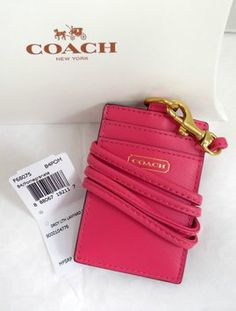 Coach Coach Darcy Leather Lanyard ID Badge Holder Pomegranate, NWT 68075 ($48)