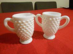 Vintage Fenton White Milk Glass Hobnail Cream Sugar Tea Coffee Set Handmade   eBay