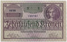 10000 Kronen 1924 (Frauenportrait) Social Security, Personalized Items, History, Cards, Banknote, Vienna, Austria, Luxury, Money