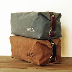 Dopp Kit, Gift for Him, Personalized, Groomsmen Gift, Waxed Cotton Canvas and Leather, Monogrammed Toiletry Bag on Etsy, $89.00
