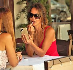 Brooke Burke refreshing with Nude Envie lipstick after lunching with Isabel Madison| Daily Mail Online