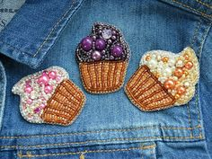 Cupcake Brooch Cupcake Pin Blueberry Cake Pin Dessert Pin Food
