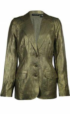 Sutton Studio Womens Gold Metallic Linen Safari Jacket $49.89 (save $99.11)