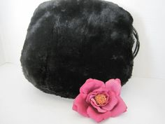 #vogueteam Black Muff Faux Fur Satin Lined Inside Purse by VintagObsessions