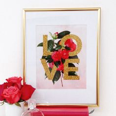 Love Art Print with Botanical Flowers by prettychicsf