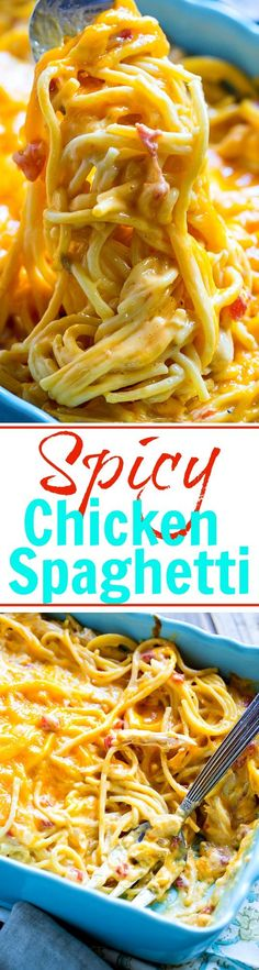 Spicy Chicken Spaghetti is super cheesy and has a kick from a can of Red Gold's new Sriracha Diced Tomatoes and Chilies.