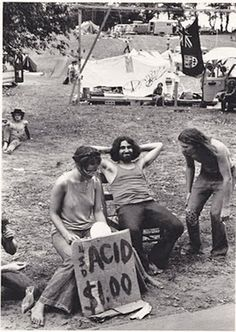 "On July 31, 1970, at Middlefield, Connecticut, the Powder Ridge Rock Festival was scheduled to begin. A legal injunction forced the event to be canceled, keeping the musicians away; but a crowd of 30,000 attendees arrived anyway, to find no food, no entertainment, no adequate plumbing, and at least seventy drug dealers. Volunteer doctor William Abruzzi declared a drug ""crisis"" on 1 August and said ""Woodstock was a pale pot scene. This is a heavy hallucinogens scene."""