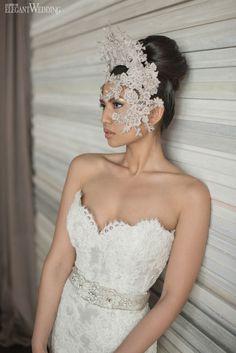 Strapless sweet heart neckline wedding dress from Kleinfeld Hudson's Bay, contemporary headpiece, bridal fashion, editorial, fashion shoot CONTEMPORARY WEDDING DECOR www.elegantwedding.ca