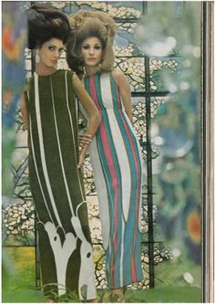 1960's fashion pic with stunning models Benedetta Barzini and Veruschka... love the colours, the shapes, and the big hair!