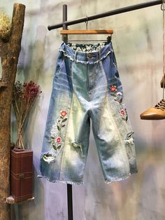 2017 Latest Flowers Embroidered Jeans Raw Hem Denim Wide Leg Pants    #pants #denim #embroidered #flowers #jeans #baggy #rose