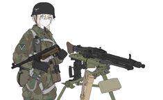Anime Girl Neko, Cool Anime Girl, Awesome Anime, Anime Military, Military Girl, Comic Pictures, Manga Pictures, Guerra Anime, Military Drawings