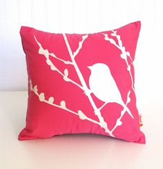 pink bird pillow ~ Audrey