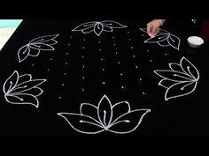 Lotus flower kolam designs with 9 dots Rangoli Designs Latest, Rangoli Designs Flower, Small Rangoli Design, Rangoli Ideas, Rangoli Designs Diwali, Rangoli Designs With Dots, Rangoli Designs Images, Flower Rangoli, Rangoli With Dots