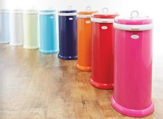 Here at Project Nursery we love the Ubbi diaper pail for its sleek design, amazing color options and its unique odor-reducing features.
