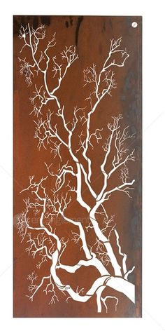 Outdoor Wall Sculpture :: Laser Cut Steel Wall Art :: Outdoor Laser Cut Wall Art - Polarize Tree Flat Screen -