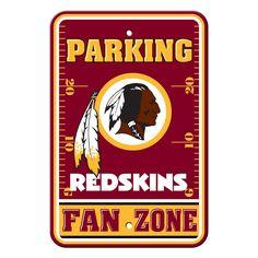 Washington Redskins Sign - Plastic - Fan Zone Parking - 12 in x 18 in