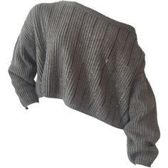 Pre-owned 1980s Claude Montana Over-Sized Gunmetal Sweater w/... (2 180 PLN) ❤ liked on Polyvore featuring tops, sweaters, shirts, crop top, pullovers, vintage striped shirt, grey sweater, cropped sweater, vintage crop top and vintage sweater