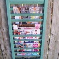 DIY: Shutters as a Magazine Rack . . . gotta do this in the bath for Chuck