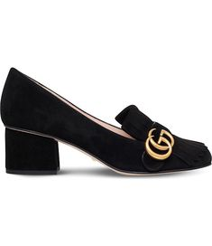 A chunky block heel give a distinctly seventies vibe, and the long fringe drapes over the vamp lending a traditionally masculine shoe a distinctly feminine edge. Metallic Loafers, Block Heel Loafers, Block Heel Shoes, Heeled Loafers, Gucci Shoes, Heels, Black Strappy Shoes, Black Loafer Shoes, Shopping