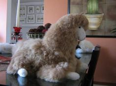 Dark brown plush Lama, made of Alpaca fur