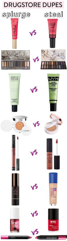 Get the high-end look without breaking the bank with these incredible drugstore dupes for high-end makeup! There are more than 55 best drugstore makeup dupes in this ULTIMATE list! Makeup Inspo, Makeup Inspiration, Makeup Geek, Makeup Ideas, Makeup Tips, Prom Makeup, Makeup Tutorials, Makeup Hacks, Style Inspiration